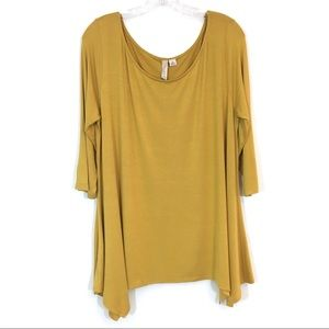 Misia Tunic Top Asymmetrical Gold 3/4 Sleeve Sz 1X